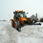 jcb plowing snow